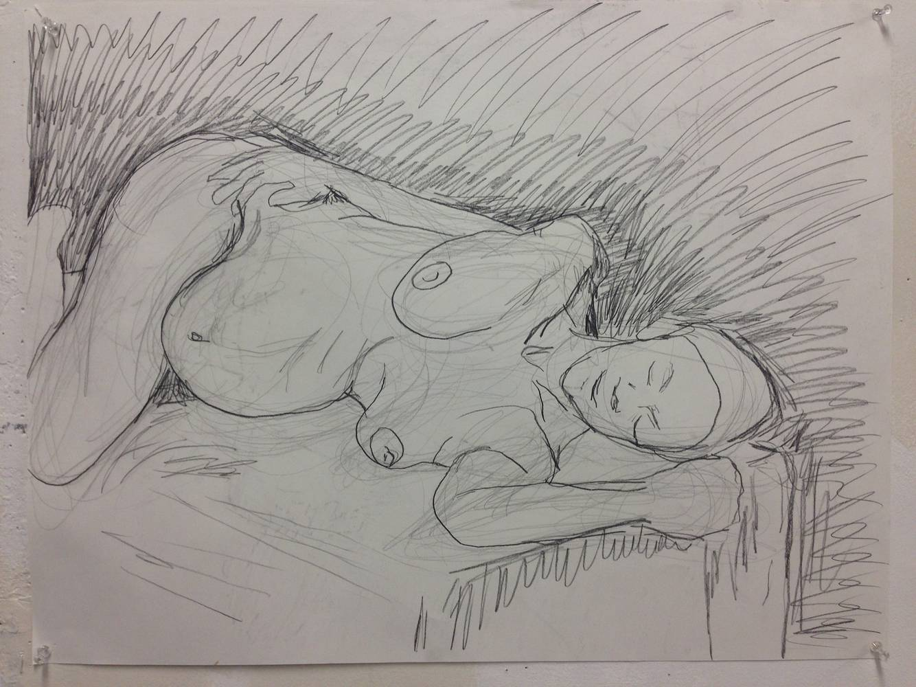Pregnant Woman on her side. graphite on paper by Edward Miller
