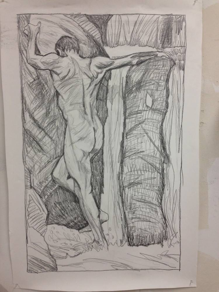 Study for Falls Climber 42 x 28  graphite on paper by Edward Miller