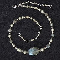 Labradorite with Swarovski crystal pearls by Sue Ellen Brown