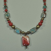 Aqua Terre and Red River Jasper by Sue Ellen Brown