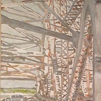 Oil painting Huey Long Bridge  by Edward Miller