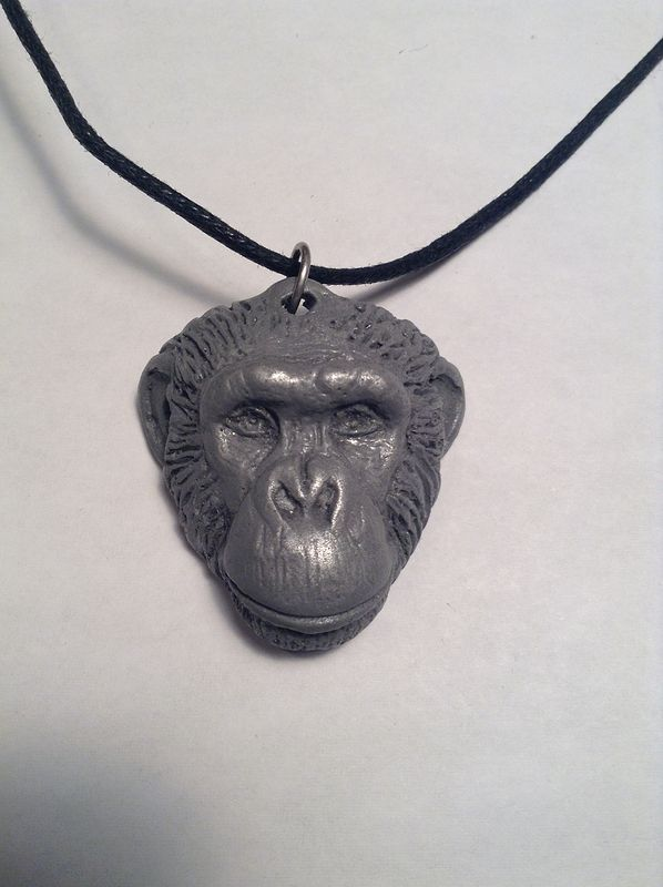 Loulis chimpanzee pendant light cold cast pewter by Jason  Shanaman
