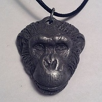 Loulis chimpanzee pendant dark cold cast pewter by Jason  Shanaman