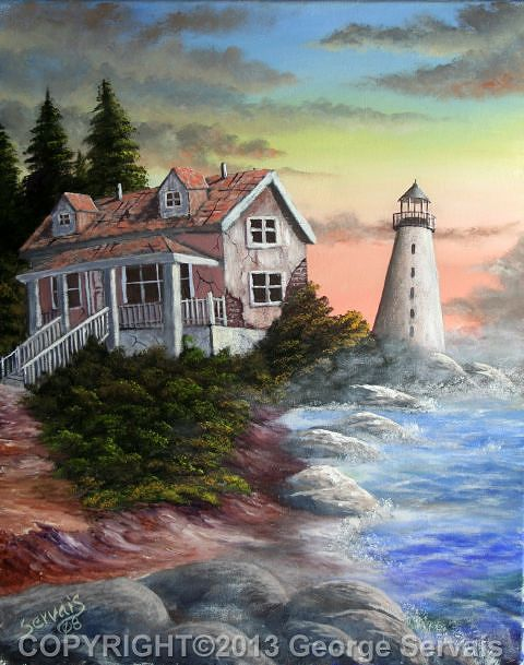 Acrylic painting  Abandonded Lighthouse by George Servais