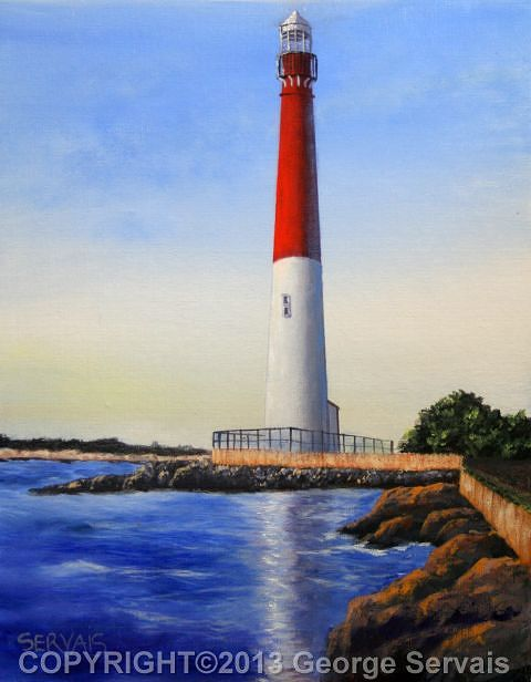 Acrylic painting Barnegat light by George Servais