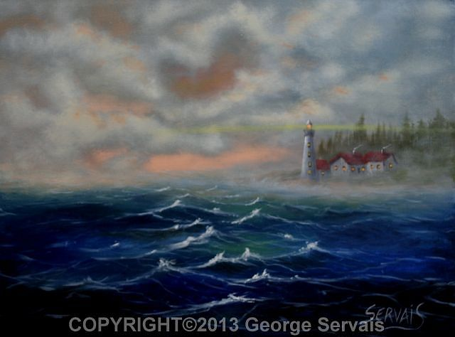 Acrylic painting Lonely Light by George Servais
