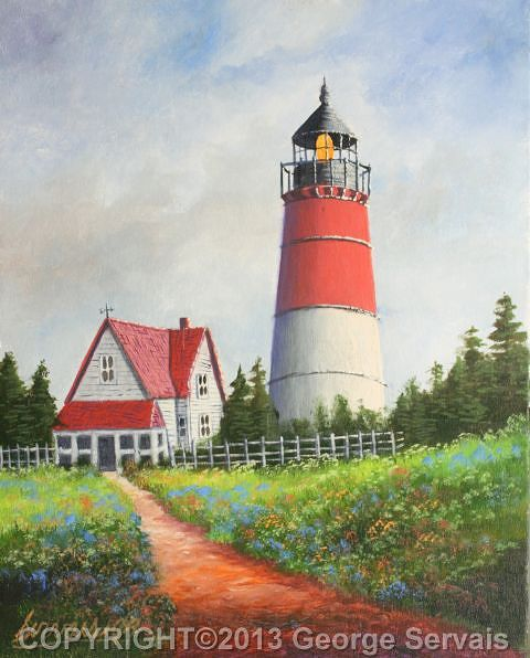 Acrylic painting Red Lighthouse by George Servais
