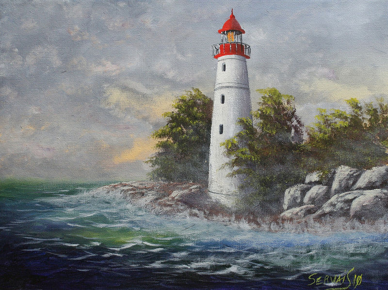 Acrylic painting Lighthouse by George Servais
