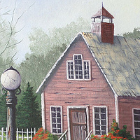Acrylic painting Red School House by George Servais