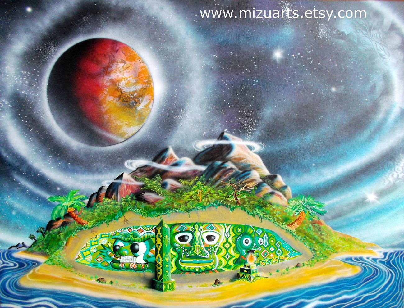 Acrylic painting Distant Mountain Temple  by Isaac Carpenter