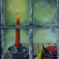 Acrylic painting Candle in the Window by George Servais