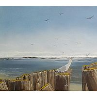 Oil painting Gulls on Pilings $1200.00 by Vicki Beamish