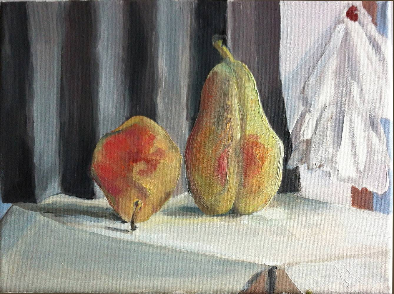 Oil painting PEARS WITH FOLDED PAPER by Anastasia O'melveny