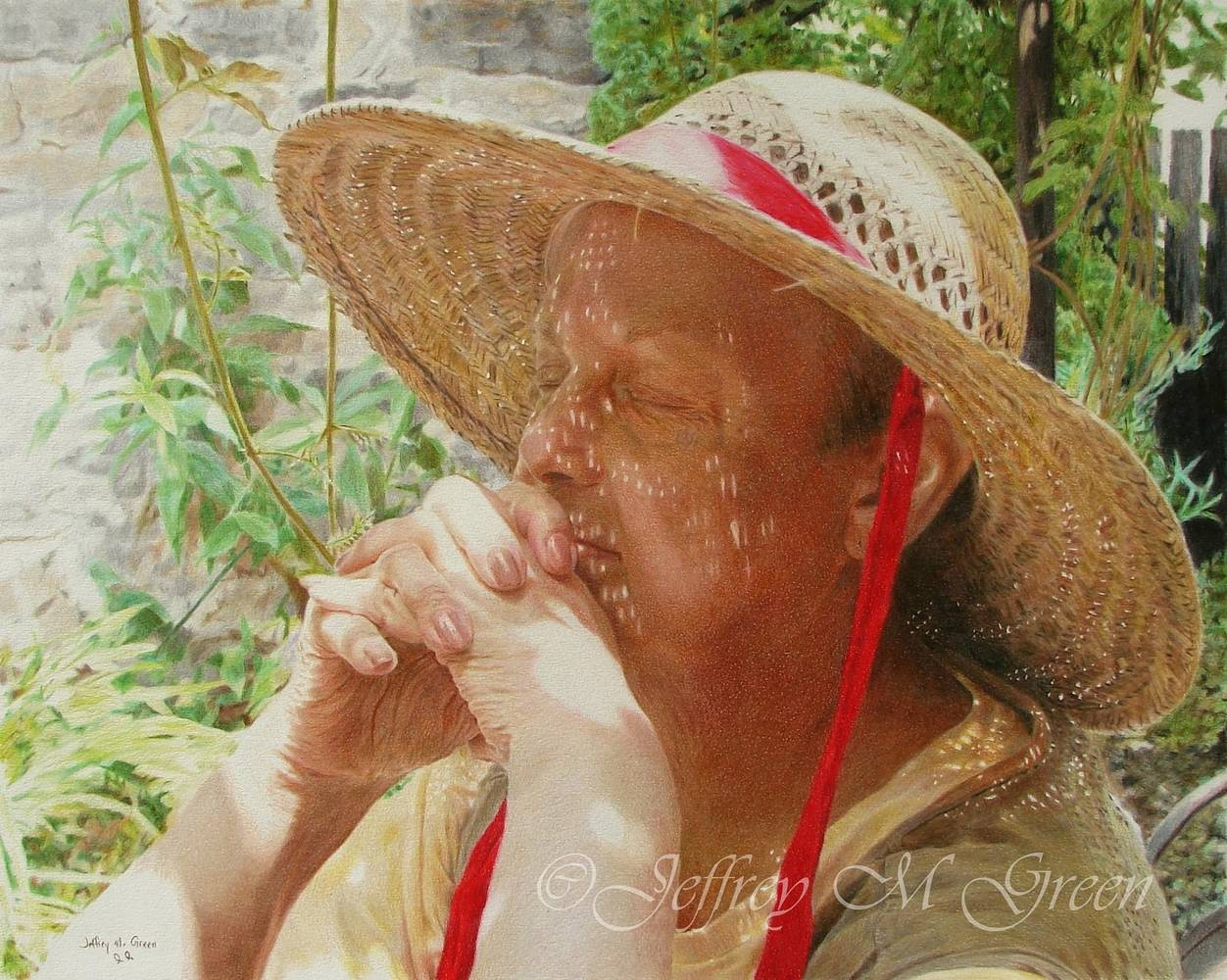 "© Jeffrey M Green. ""Carole"", Prayer Series I"", 16x20"", colored pencils. by Jeffrey Green"