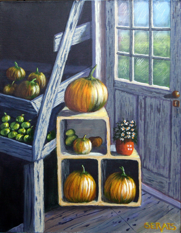 Acrylic painting Pumpkin Sale by George Servais