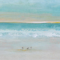 Acrylic painting White Sand Beach by Sally Adams