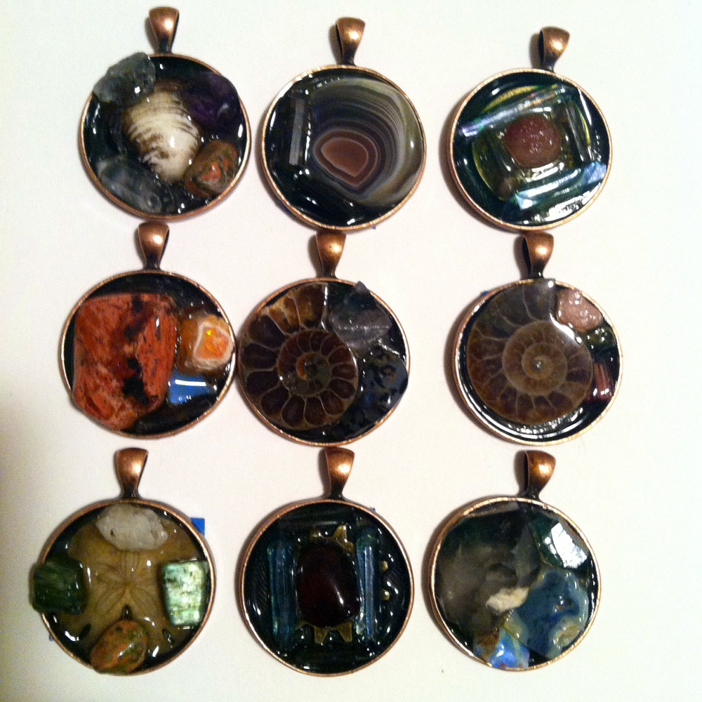 Copper Bezel Pendants by Isaac Carpenter