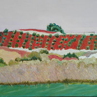 Oil painting Adelaide Hills Orchard by Gwenda Branjerdporn
