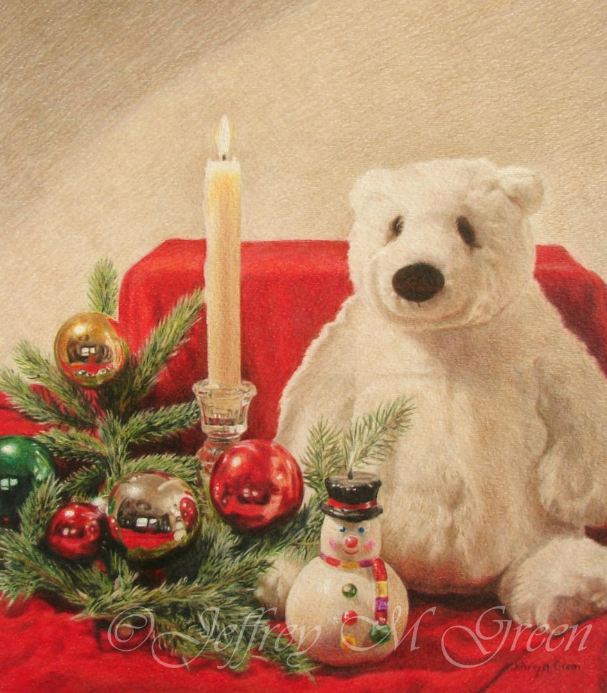"© Jeffrey M Green. ""Christmas Time"", 11x14"", colored pencils. by Jeffrey Green"
