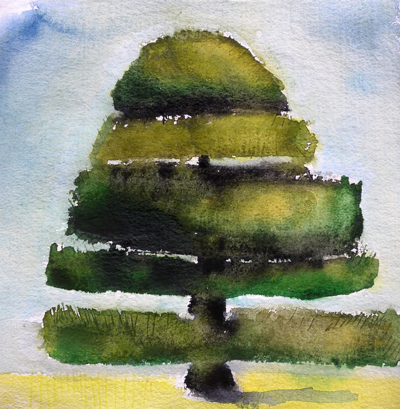 Watercolor A Tree Grows in Vancouver by Edith dora Rey