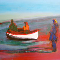 Oil painting Das Boat is Full, 2005 by Edith dora Rey
