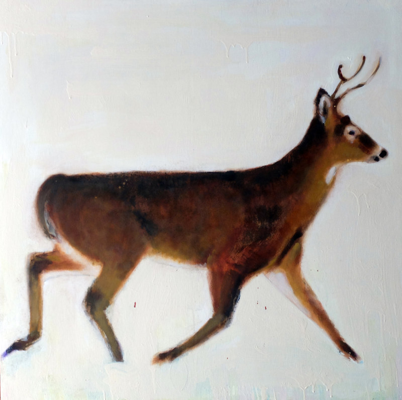 Oil painting Chemin de la Vallée Missisquoi Stag, 2015 by Edith dora Rey
