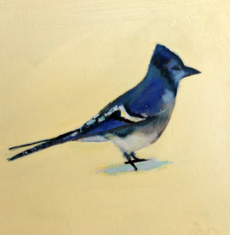 Oil painting February Bluejay II, 2015 by Edith dora Rey