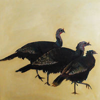 Oil painting Rafter of turkeys,2015 by Edith dora Rey