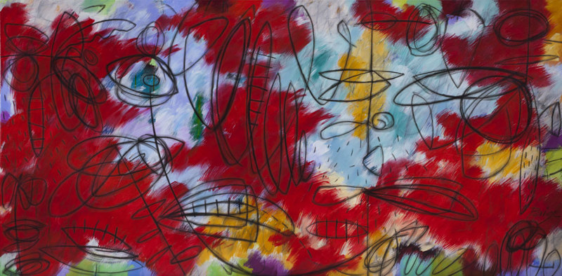 Acrylic painting Addison Paige #77 Another Rollercoaster in Life 36x72 in. Acrylic and Charcoal on Canvas 2014 by Addison Paige
