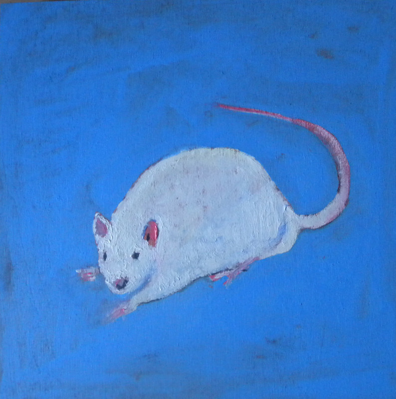 Oil painting Lab rat, 2010 by Edith dora Rey
