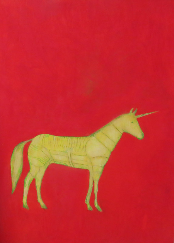 Oil painting Unicorn parts, 2013 by Edith dora Rey