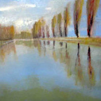 Oil painting Lachine Canal Trees, 2006 oil on wood 30 x 40 NFS by Edith dora Rey