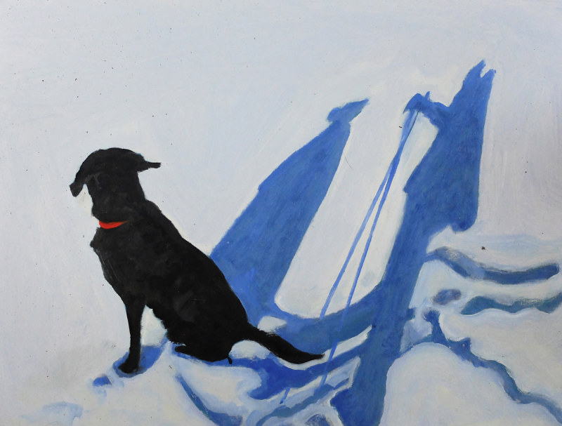 Oil painting Snow travels with Angus, 2015 by Edith dora Rey
