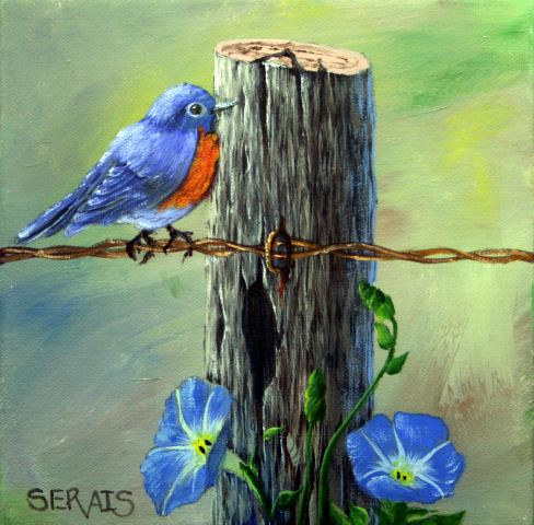 Acrylic painting Bluebird by George Servais