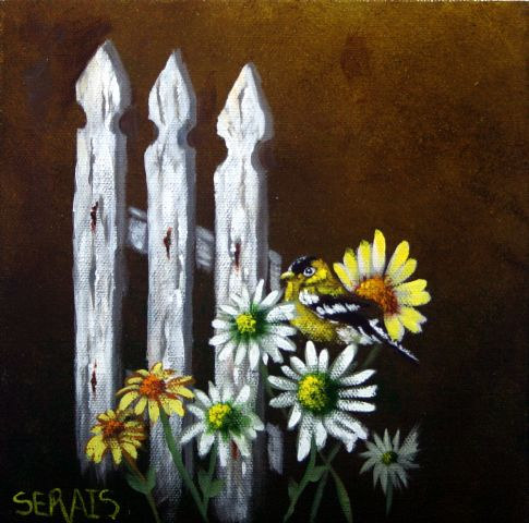 Acrylic painting Hiding In The Daisies by George Servais