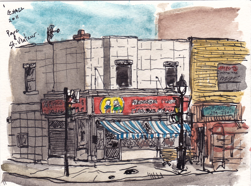 Drawing Parc and St. Viateur by Graham Hall