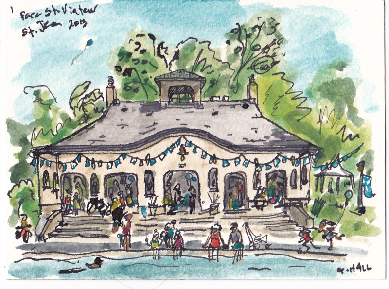 Drawing Parc St. Viateur by Graham Hall
