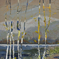 Acrylic painting The Last Birches by Lori Sokoluk