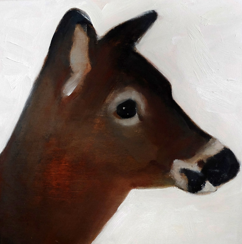 Oil painting Highwater Deer I, 2015 by Edith dora Rey