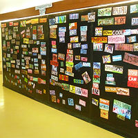 Acrylic painting Poetry Wall - Blake Public School by Pamela Schuller