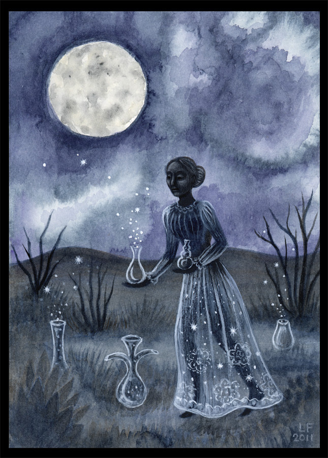 Moon Vessels, watercolor & gouache, 5x7 in, ©2011 Laurey Foulkes by Laurey  Foulkes