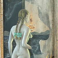 Wading Through the Open Door, mixed medium on wood, 11¼ x 28½ in, 2006, Laurey Foulkes by Laurey  Foulkes