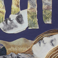 Dreaming, mix-medium collage on canvas, 11x14 in, 2007, Laurey Foulkes by Laurey  Foulkes