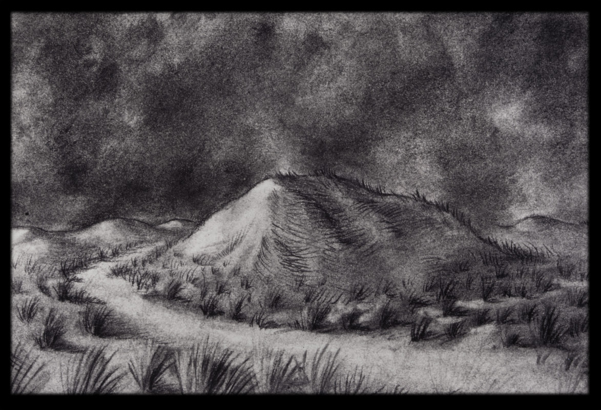 Desert Path, charcoal on paper, Laurey Foulkes by Laurey  Foulkes