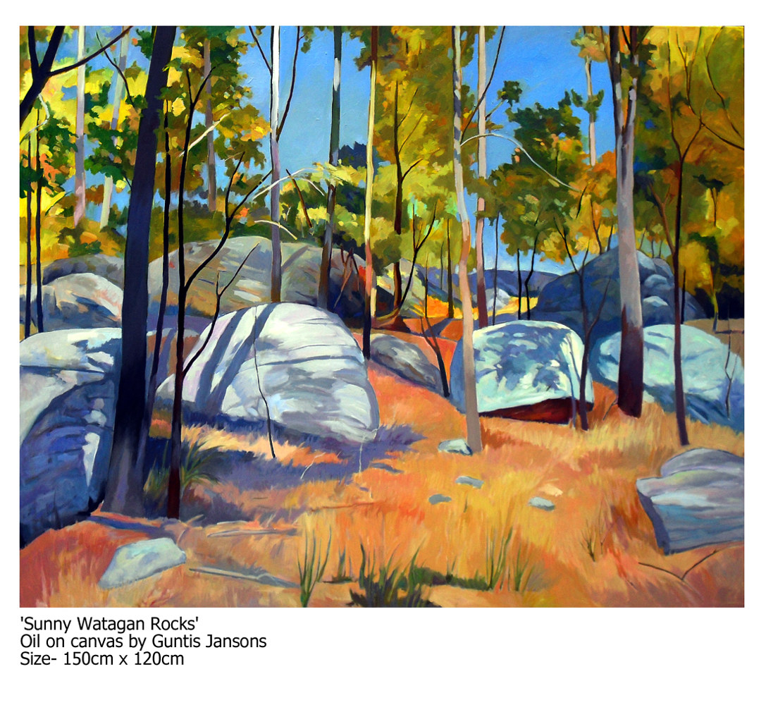 Oil painting Sunny Watagan Rocks by Guntis Jansons