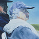 Oil painting Sam and Mum by Judith  Elsasser