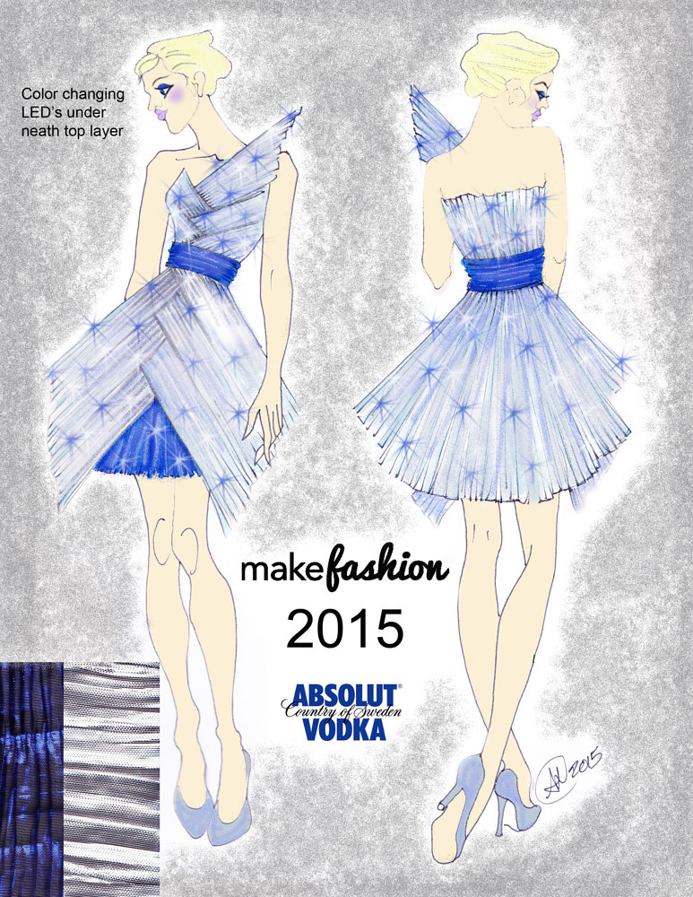 Sketch for Absolut Dress for Make Fashion 2015 by Angela Dale