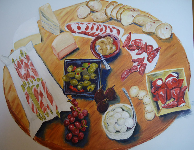 Oil painting Joans Appetizers  by Michelle Marcotte