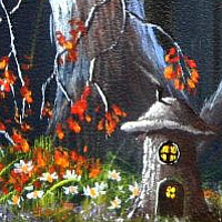Acrylic painting Elf house by George Servais