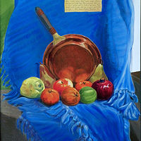 Oil painting BRIGHT FRUITS AND A COPPER PAN by Anastasia O'melveny